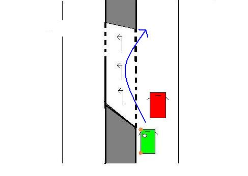 Si je suis le véhicule vert et que le véhicule rouge devant moi roule lentement: