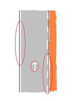 Si la ligne de rive à gauche de la chaussée est continue: