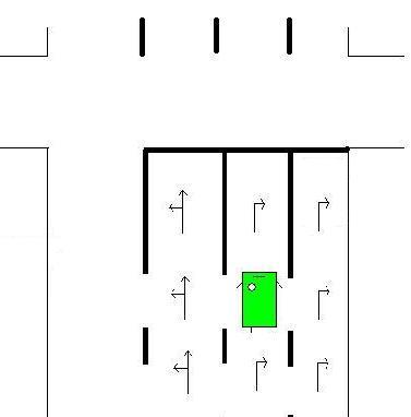 Le véhicule vert est bien placé pour tourner à droite: