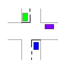 Si je suis le véhicule bleu et que je tourne à gauche je passe en: